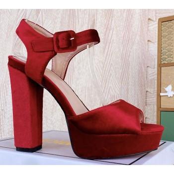 Sandalo alto scamosciato rosso