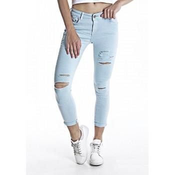 Jeans In Cotone Con Tasche colore chiaro